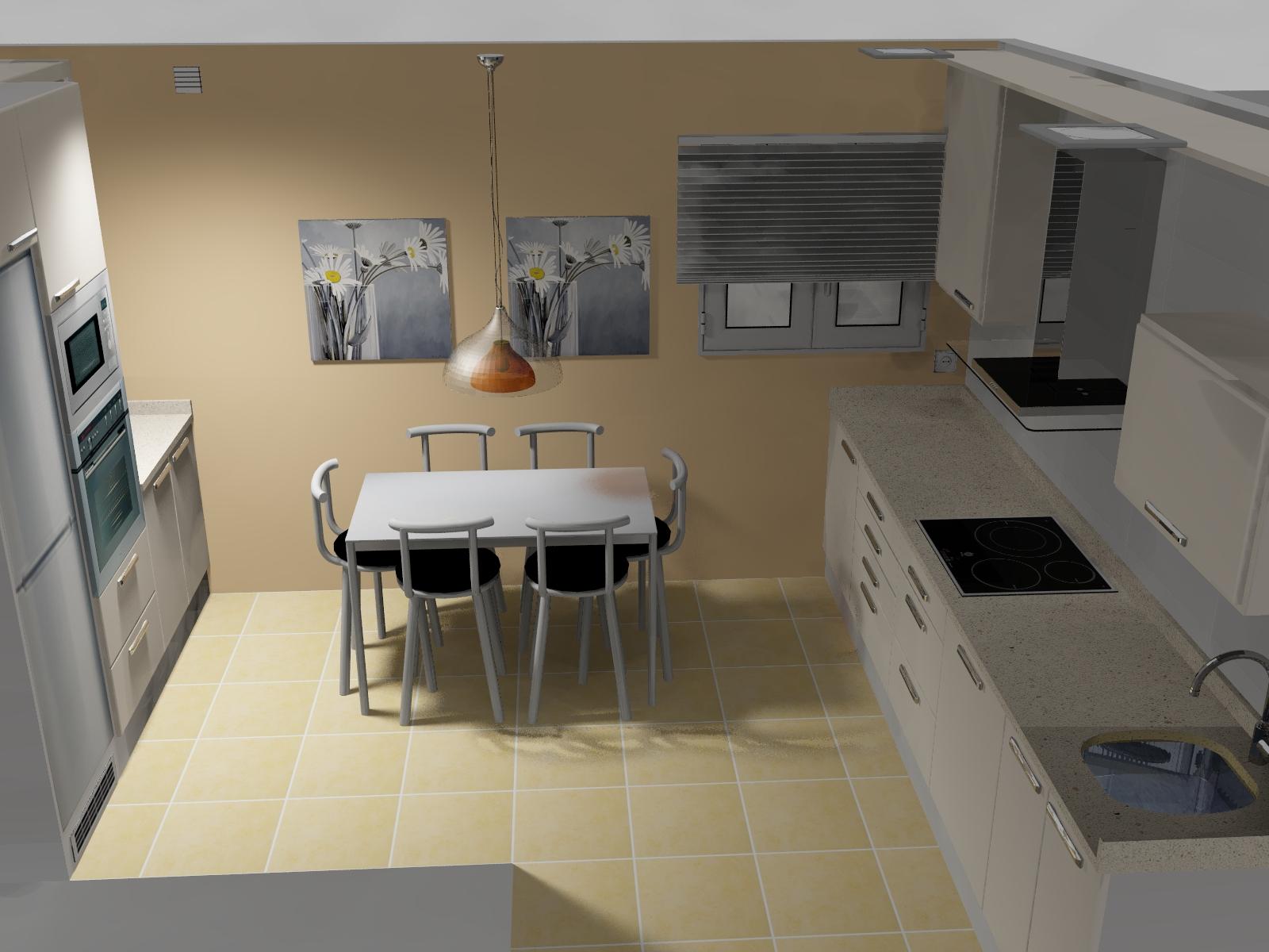 La cocina blanca for Mesas de cocina blancas y madera